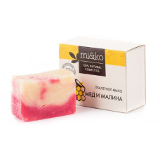 Туалетное мыло   МЕД И МАЛИНА   малина, липовый мед, миндаль, пальмароза, увлажняет, омолаживает, регенерирует  75g Mi&Ko